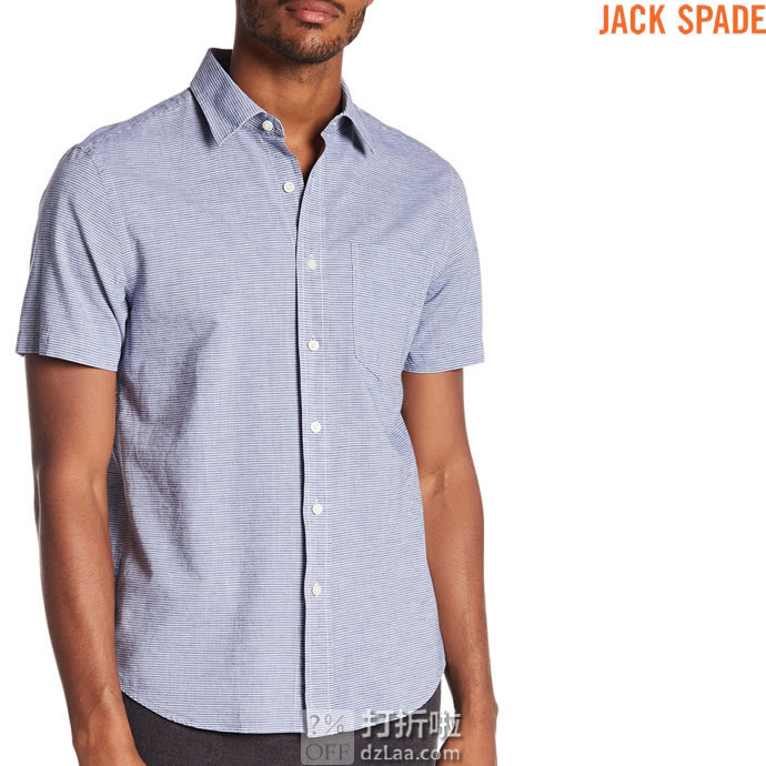 Jack Spade 杰克丝蓓 Cliff 亚麻棉 男式短袖衬衫 XS码2.5折$29.93 海淘转运到手约¥215 中亚Prime会员免运费直邮到手约¥232