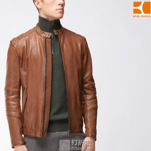 BOSS orange 雨果博斯 jeeper 橙标 修身款 男式小羊皮夹克 L码¥1661 中亚Prime会员免运费直邮到手约¥1827