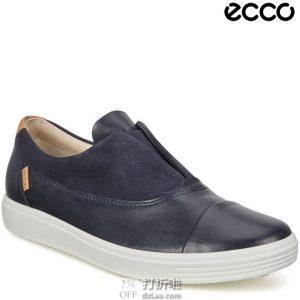 ECCO 爱步 Soft 7 柔酷7号 磨砂皮牛皮拼接 一脚套女式休闲鞋 35码3.2折$48.42 海淘转运到手约¥424 中亚Prime会员免运费直邮到手约¥372