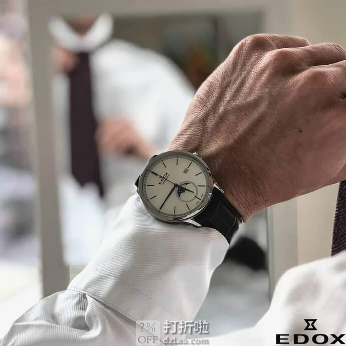 Edox 依度 Les Vauberts系列 79018-3-BEIR 带月相 男式石英表 2.4折$169.99 海淘转运关税补贴到手约¥1311