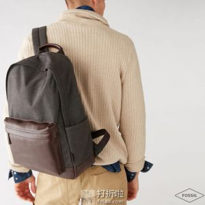 Fossil 化石 Buckner系列 15寸 真皮拼接帆布 双肩包 5.3折$103.74 淘转运到手约¥784 中亚Prime会员免运费直邮到手约¥860