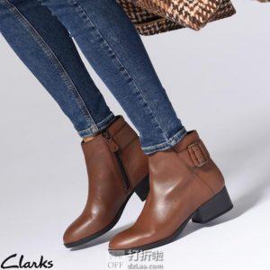 双11预售 Clarks 其乐 Elvina Dream 侧拉链 女式粗跟踝靴 ¥399包邮(需50元定金)3色可选