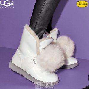 UGG  Isley Patent Vibram外底 可爱毛球 女式防水防滑雪地靴 37码4.2折$87.13 海淘转运到手约¥742