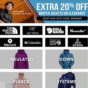 Moosejaw美国站 Arc'teryx/Columbia/Marmot等户外品牌冬季夹克促销 优惠码额外8折