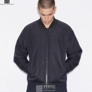 A|X Armani Exchange 阿玛尼 条纹款 男式飞行夹克外套 S码2.4折$53.16 海淘转运到手约¥432
