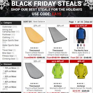 Mountain Steals 黑五大促 精选户外服饰装备 3折起+额外85折优惠码