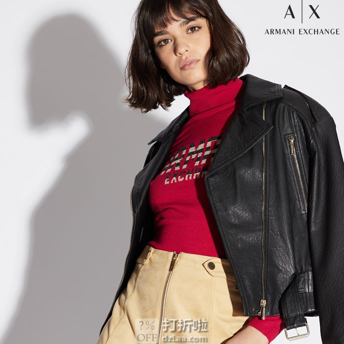 A|X Armani Exchange 阿玛尼 羊毛混纺 女式高领毛衣 L码3.5折$42.14 两色可选 海淘转运到手约¥341