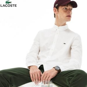 LACOSTE 法国鳄鱼 修身款 弹力棉 男式长袖衬衫 5折$48.99 海淘转运到手约¥359