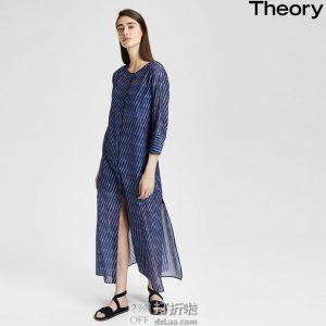 Theory Weekend Buttondown Maxi 女式七分袖连衣裙 L码2.4折$95.57 海淘转运到手约¥685