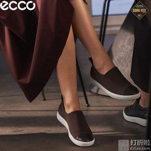 限尺码 ECCO 爱步 Soft 7 柔酷7号 GTX防水 一脚套女式休闲鞋 3折$48.25 海淘转运到手约¥420