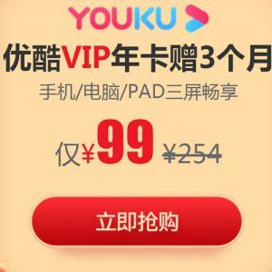 优酷 黄金VIP会员年卡1年 ¥99秒冲 赠3个月