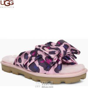 UGG Lushette Leopard Puffer 缎面蝴蝶结 女式拖鞋 36码2.7折$24.14 海淘转运到手约¥227