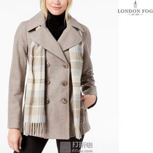 London Fog 伦敦雾 羊毛呢 女式双排扣大衣外套 L码1.2折$28.11 附围巾 海淘转运到手约¥319