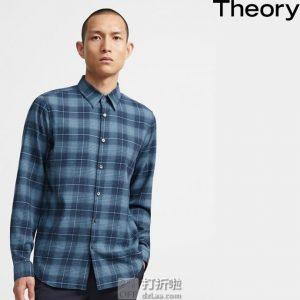 Theory 希尔瑞 Irving 格纹男式衬衫 M码2.3折$61.42 海淘转运到手约¥452