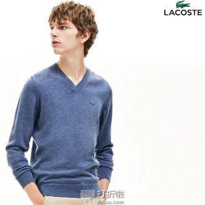 Lacoste 法国鳄鱼 纯羊毛 男式V领毛衣 S码3.4折$50.95 海淘转运到手约¥406