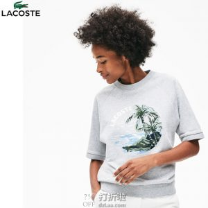 LACOSTE 法国鳄鱼 时尚休闲印花 女式短袖圆领卫衣 0码2.4折$39.63 海淘转运到手约¥311 天猫¥774
