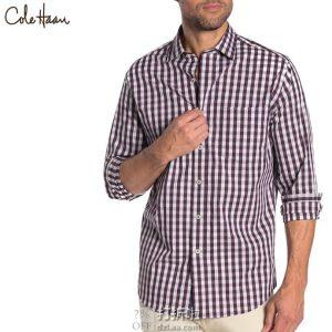 Cole Haan 可汗 修身款 男式格纹长袖衬衫 M码2折$17.77 海淘转运到手约¥144