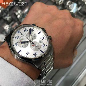 Hamilton 汉密尔顿 Khaki Aviation 卡其航空系列 H76712151 三眼计时 男式石英表 直邮含税到手¥1755.22 国内¥6750