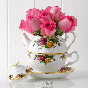 Royal Albert 皇家阿尔伯特 老镇玫瑰系列 骨瓷 复古镶金茶壶套装 ¥368.18